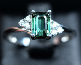 Natural top bluish green Color Amazing Tourmaline ,CZ925 Silver Ring