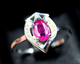Natural top color precious transparent top color Ruby 925 Silver Ring