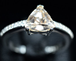 Natural top full lsutrous amazing Topaz , CZ 925 Silver Ring