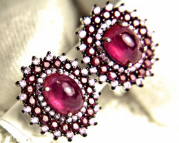 24.24 Tcw. Ruby, Tourmaline, Sapphire, Silver Earrings - Gorgeous
