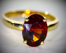 Malaya Garnet 3.52ct Solid 18K Yellow Gold Ring