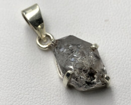 Natural Herkimer Diamond Quartz Rough Crystal Hand Made 925 Silver Pendant