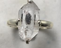 Natural Herkimer Diamond Quartz Rough Crystal Hand Made 925 Silver Ring