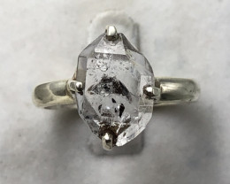 Natural Herkimer Diamond Quartz Rough Crystal Hand Made 925 Silver Ring