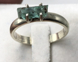 Natural Emerald Rough Crystal Hand Made 925 Silver Ring