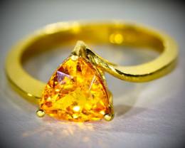 Mandarin Spessartine Garnet 1.75ct Solid 22K Yellow Gold Ring