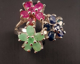 Natural Emerald,sapphire and Ruby Ring.