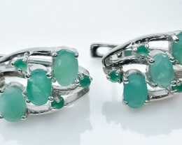 35.40 Crt Natural Emerald 925 Silver Earrings