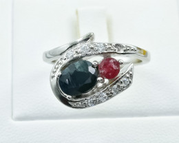 25.27 Crt Natural Sapphire and Ruby 925 Silver Ring