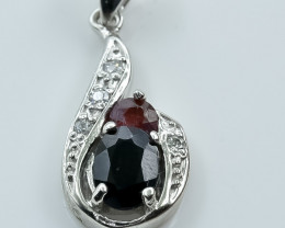 13.88 Crt Natural Ruby And Sapphire 925 Silver Pendant