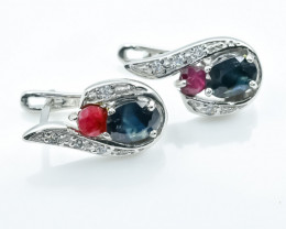 32.58 Crt Natural Ruby And Sapphire 925 Silver Earrings