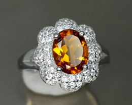 22Crt Ring Of Madeira citrine Silver 925 size 7 925 SILVER AMAZING RING JI0