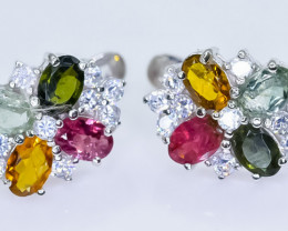 36.16 Crt Natural Tourmaline 925 Sterling Silver Earrings