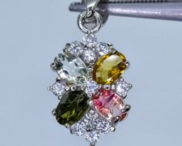 15.53 Crt Natural Tourmaline 925 Sterling Silver Pendant