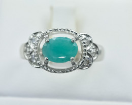 22.11 Crt Natural Emerald 925 Sterling Silver Ring
