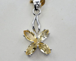 Natural Citrine and 925 Silver Pendant, Elegant Design