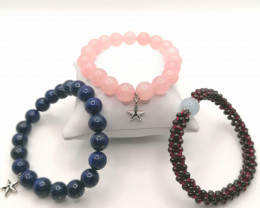 Set of 3 Natural Bead Bracelets 405 TCW