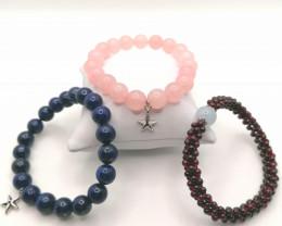 Set of 3 Natural Bead Bracelets 405 TCW