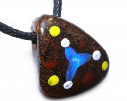 IRONSTONE  PENDANT WITH INLAYED OPAL-ADJ STRAP [SJ4850]