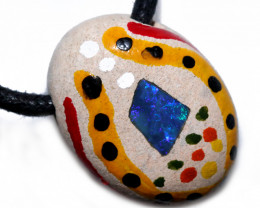 ABORIGINAL PAINTING ON OPAL PENDANT-ADJ STRAP [SJ4844]
