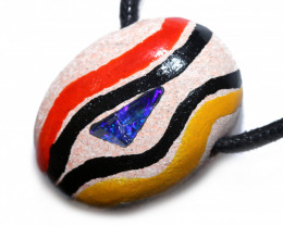 ABORIGINAL PAINTING ON OPAL PENDANT-ADJ STRAP [SJ4846]