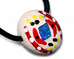 ABORIGINAL PAINTING ON OPAL PENDANT-ADJ STRAP [SJ4847]
