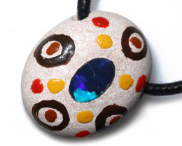 ABORIGINAL PAINTING ON OPAL PENDANT-ADJ STRAP [SJ4848]