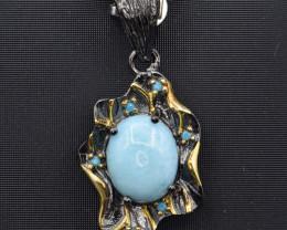 Natural Larimar and 925 Silver Pendant