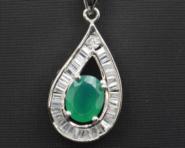 Natural Green Agate, CZ 925 Silver Pendant