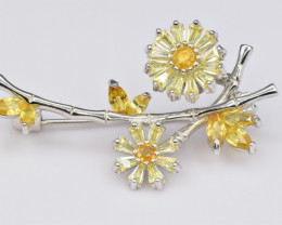 Natural Yellow Sapphire, CZ and 925 Silver Brooch, Outstanding Design
