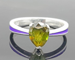 Natural Green  fire Sphene/Titanite 12.00 Carats 925 Silver Ring, Ring Size