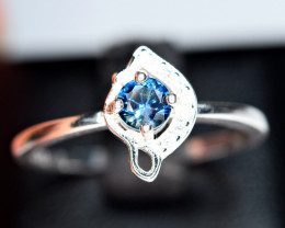 Heated Natural top blue color Sapphire 925 Silver Ring