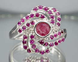 Heated Natural Ruby and 925 Silver Ring