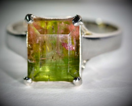 Watermelon Tourmaline 9.90ct Platinum Finish Solid 925 Sterling Silver Ring