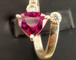 Natural Rodholite garnet with CZ Ring.