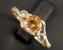 Natural Topaz Ring with CZ.