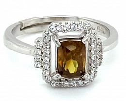 Sphene 1.00ct White Gold Finish Solid 925 Sterling Silver Ring