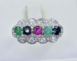 11.68 Crt Natural Ruby Emerald and Sapphire 925 Silver Ring