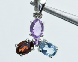12.27 Crt Natural Topaz Garnet And Amethyst  925 Silver Pendant
