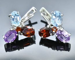 28.00 Crt Natural Garnet Topaz And Amethyst  925 Silver Earrings
