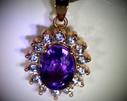 Amethyst 1.28ct Rose Gold Finish Solid 925 Sterling Silver Pendant
