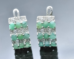 28.76 Crt Natural Emerald 925 Silver Earrings