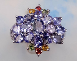 Natural Tanzanite with Sapphire Cluster Ring