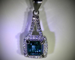 Blue Tourmaline 1.70ct White Gold Finish Solid 925 Sterling Silver Pendant