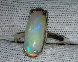 Natural Fire Opal 12.85 Carats 925 Silver Ring N11