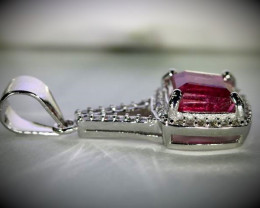 Red Tourmaline 1.90ct White Gold Finish Solid 925 Sterling Silver Pendant