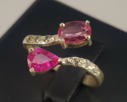 Gorgoues Natural Ruby And Sapphire with CZ Ring.