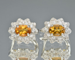 Natural Citrine Ring with Cubic Zirconia and Silver925 Earring