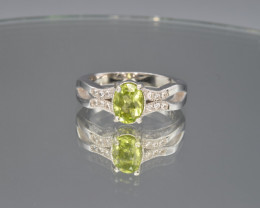Natural Peridot Pakistan  Ring with Cubic Zirconia and Silver925 Ring