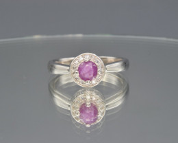 Natural Ruby Guinea Ring with Cubic Zirconia and Silver925 Ring